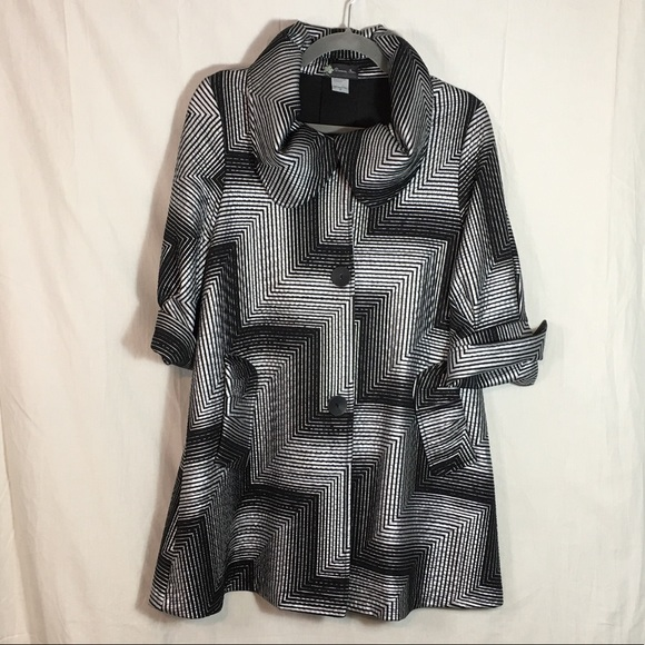 Damee Inc Jackets & Blazers - Damee Inc Art to Wear Black and Silver Swing Coat